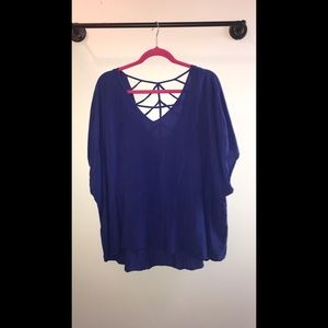 Torrid size 3 flowy blue blouse with lacing accent